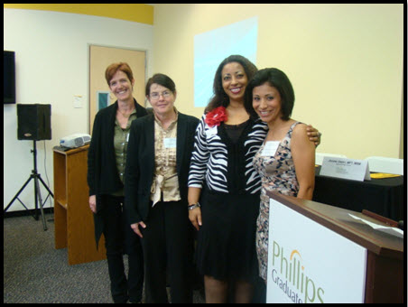 The former President of Phillips' Alumni Association, Geovanna H. Waters, congratulates the 2012-2013 Scholarship recipients from left to right - Holly Baxter, Shirley Semel and Tora Michelle Brown